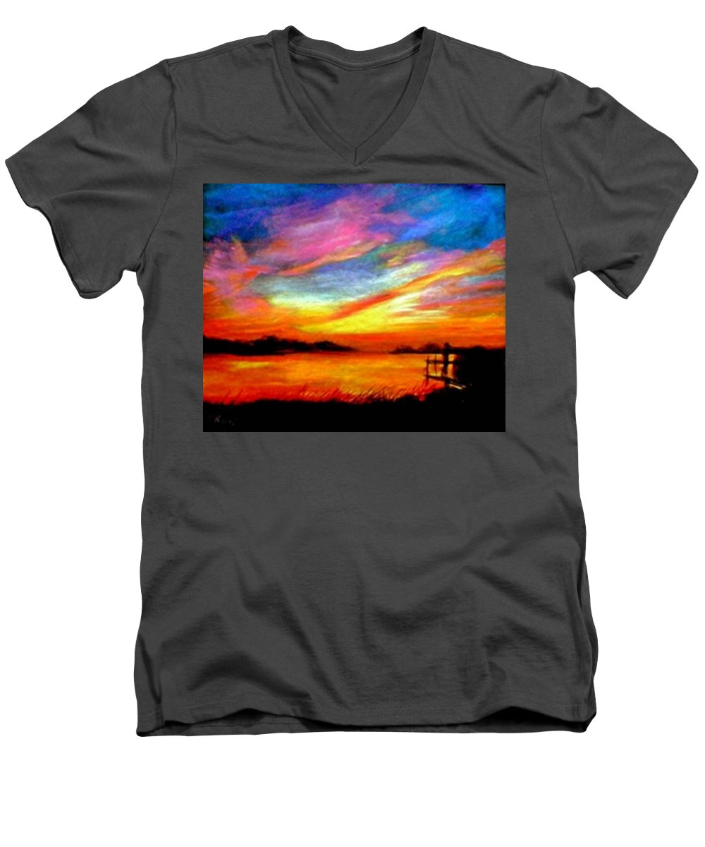 Sunset Men's V-Neck T-Shirt featuring the painting Southern Sunset by Gail Kirtz