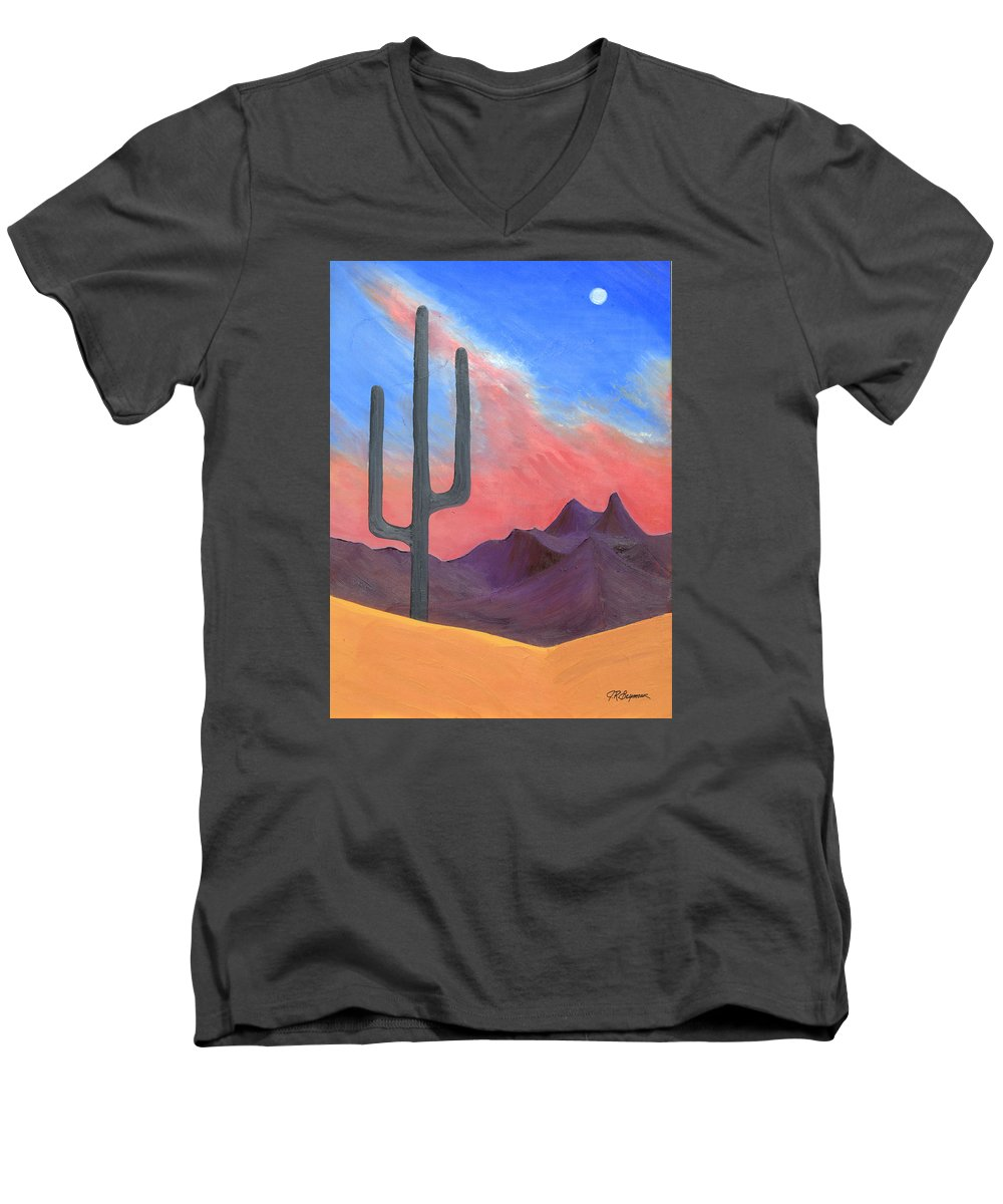 Cactus Men's V-Neck T-Shirt featuring the painting Southwest Scene by J R Seymour