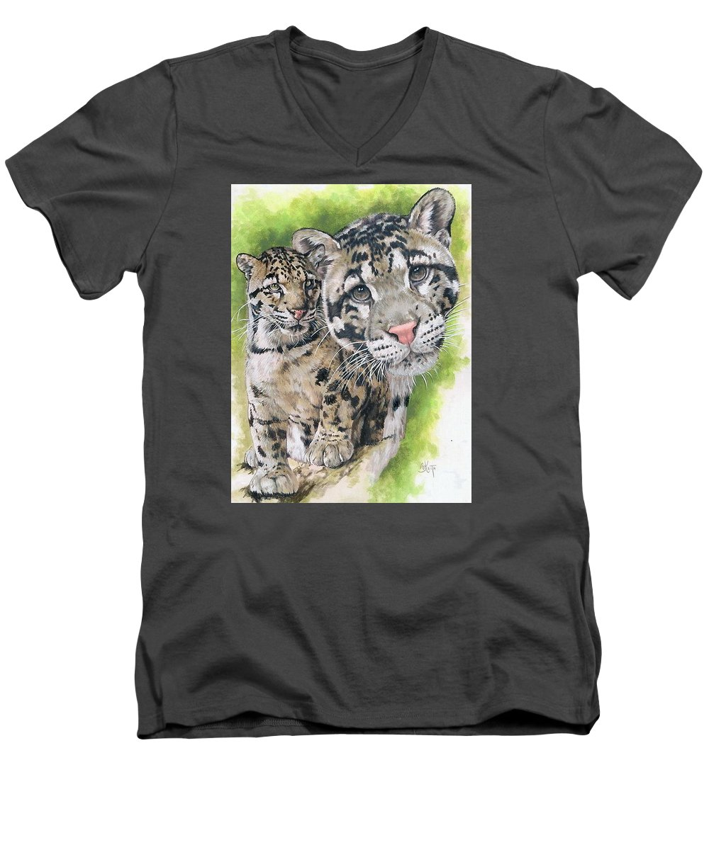 Clouded Leopard Men's V-Neck T-Shirt featuring the mixed media Sovereignty by Barbara Keith