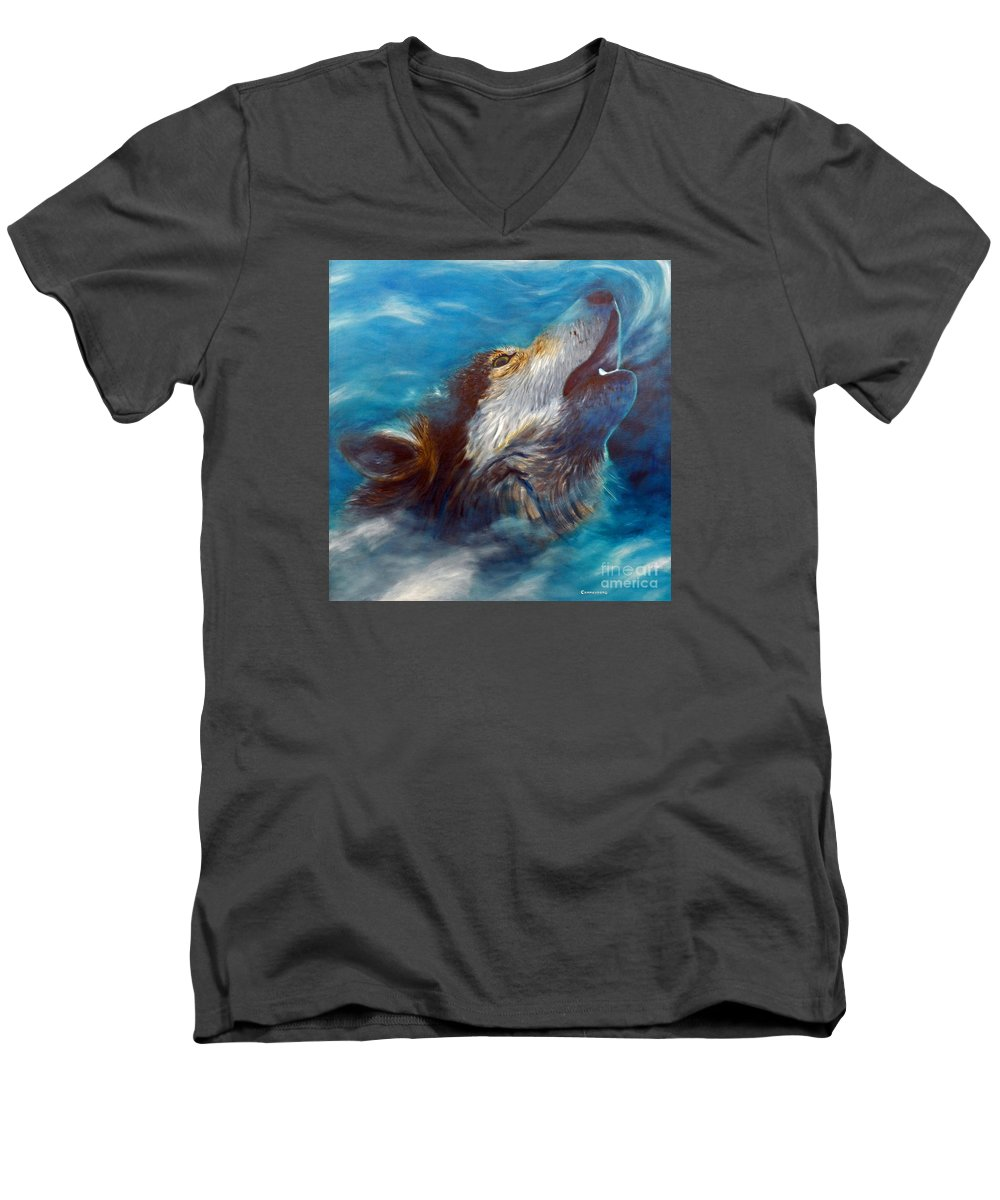 Wolf Men's V-Neck T-Shirt featuring the painting Spirit Of The Wolf by Brian Commerford