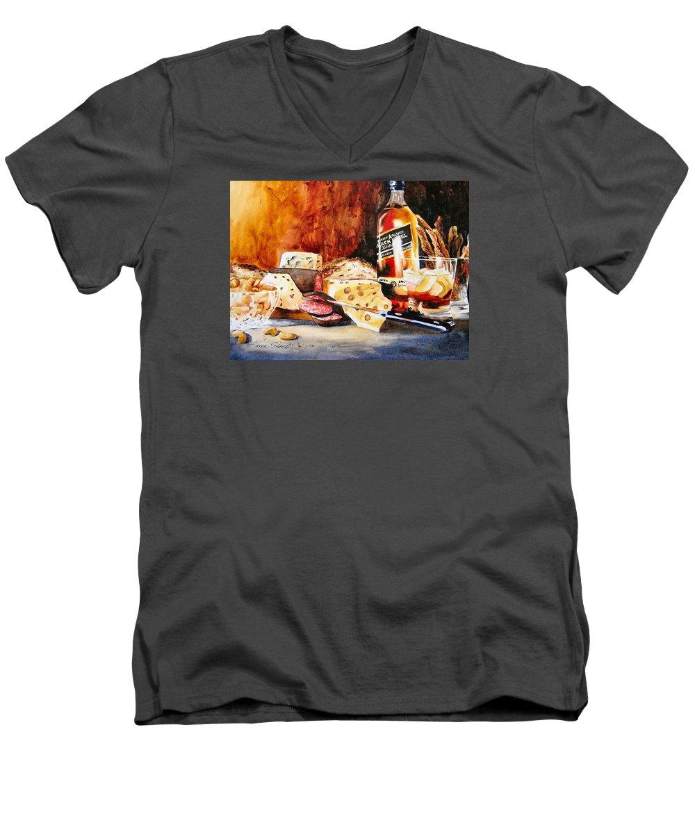 Scotch Men's V-Neck T-Shirt featuring the painting Spirited Indulgences by Karen Stark