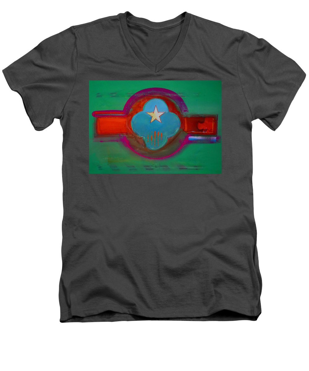 Star Men's V-Neck T-Shirt featuring the painting Spiritual Green by Charles Stuart