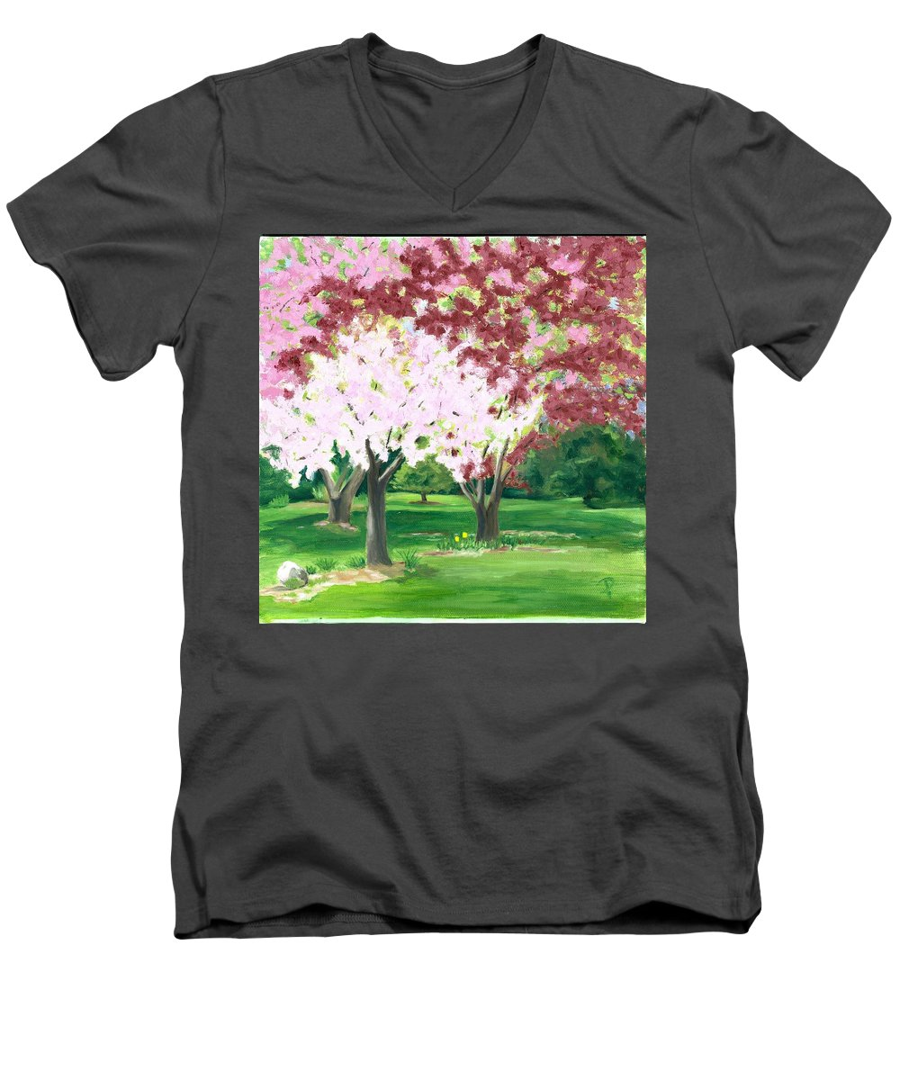 Spring Men's V-Neck T-Shirt featuring the painting Spring At Osage Land Trust by Paula Emery