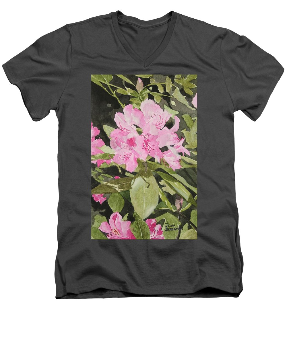 Flowers Men's V-Neck T-Shirt featuring the painting Spring At The Cabin by Jean Blackmer