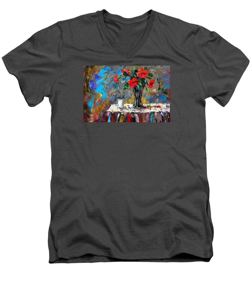 Flowers Men's V-Neck T-Shirt featuring the painting Spring Blooms by Debra Hurd