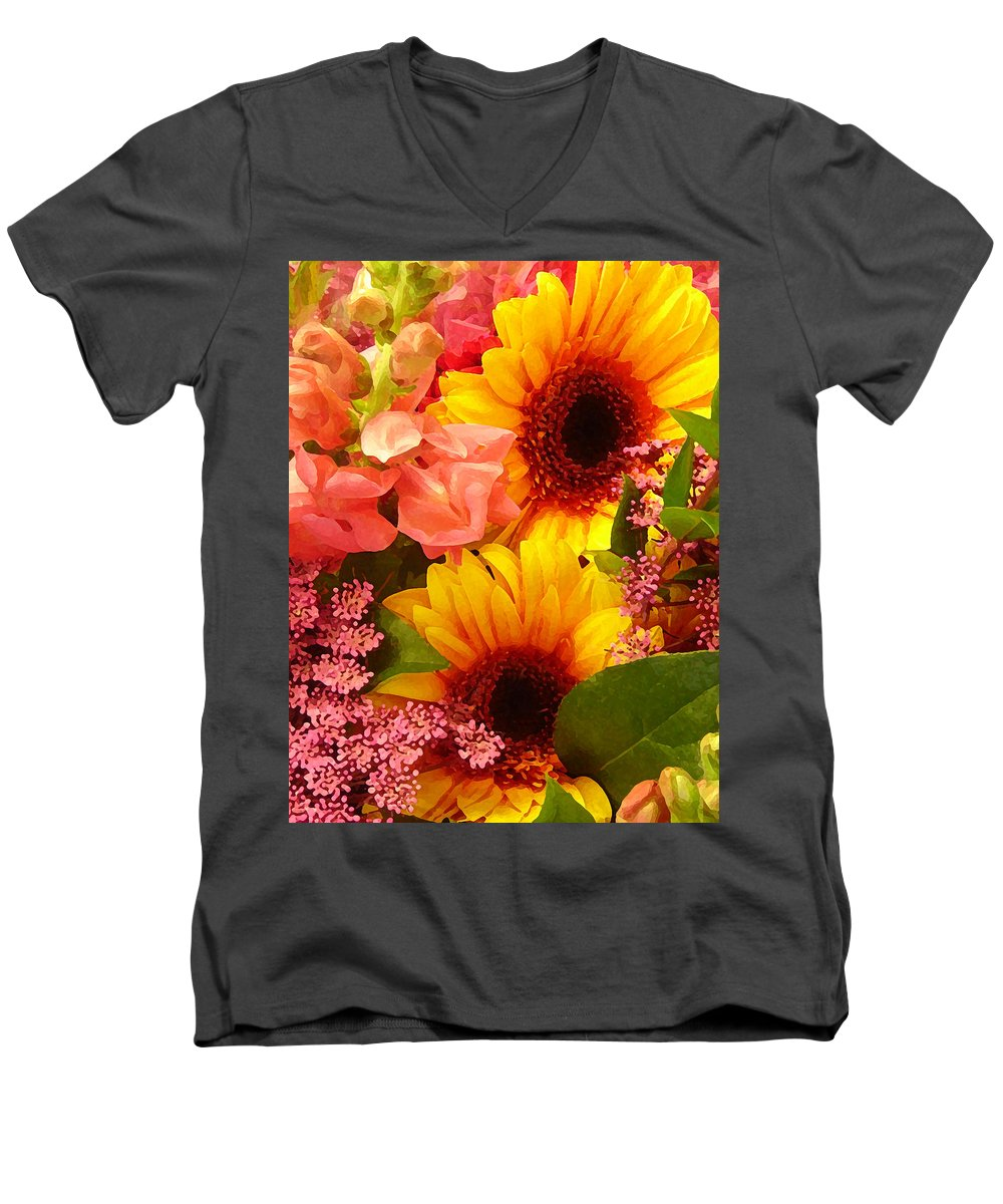 Roses Men's V-Neck T-Shirt featuring the photograph Spring Bouquet 1 by Amy Vangsgard