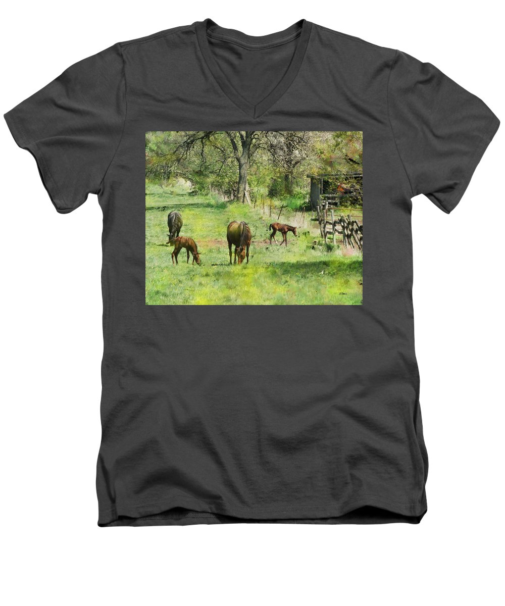 Spring Colts Men's V-Neck T-Shirt featuring the digital art Spring Colts by John Beck