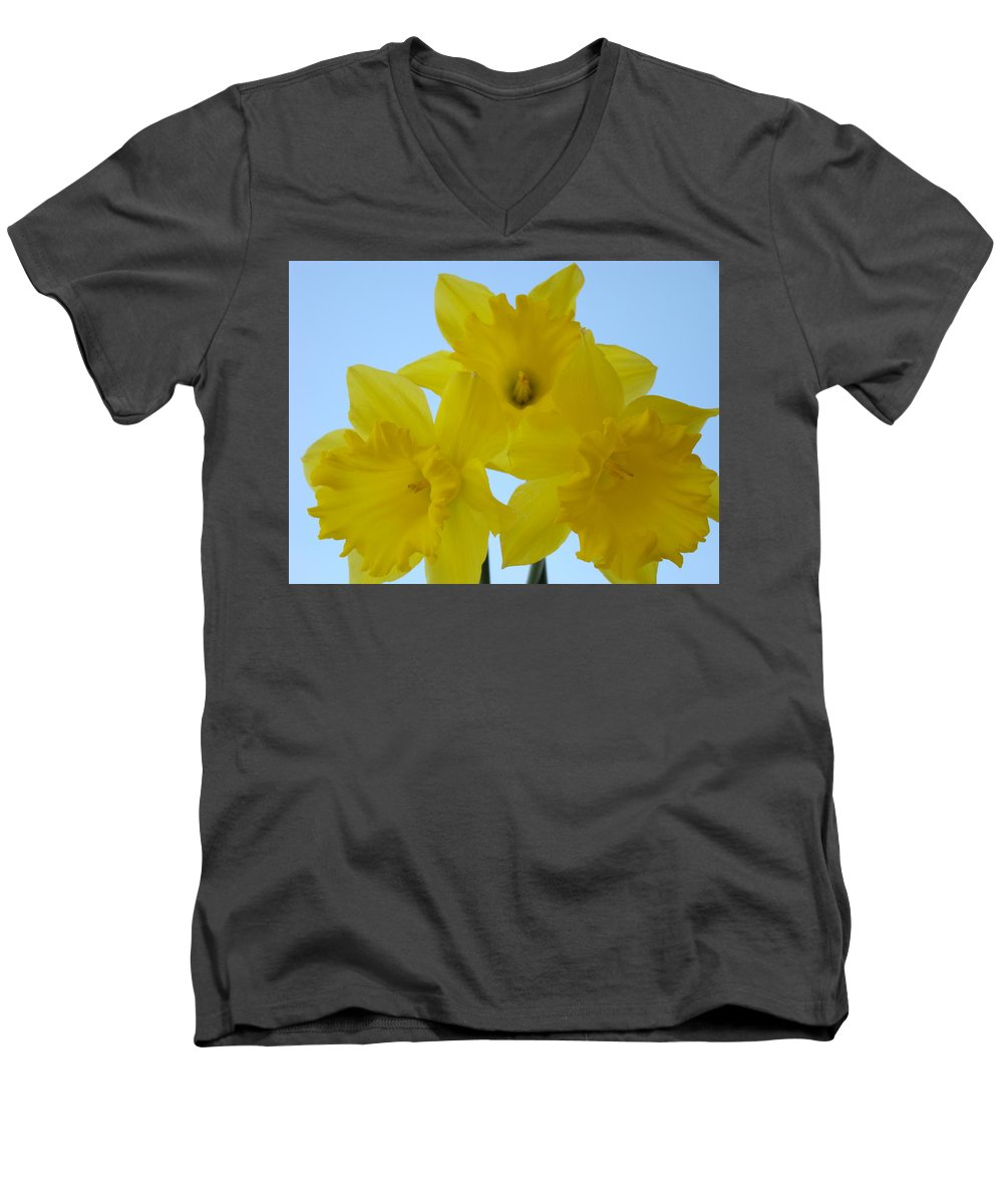 �daffodils Artwork� Men's V-Neck T-Shirt featuring the photograph Spring Daffodils 2 Flowers Art Prints Gifts Blue Sky by Baslee Troutman