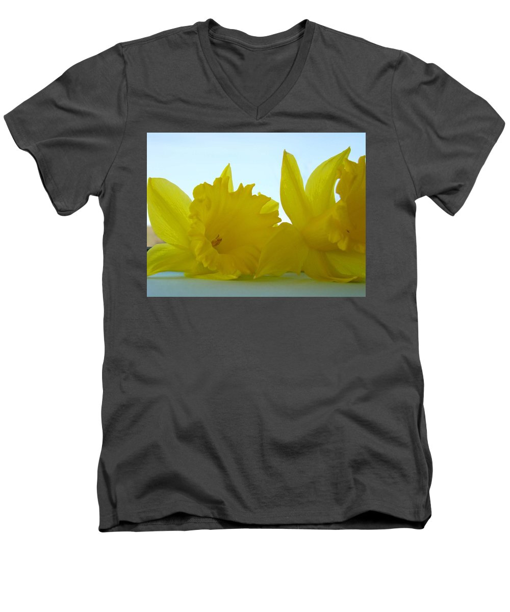 �daffodils Artwork� Men's V-Neck T-Shirt featuring the photograph Spring Daffodils Flowers Art Prints Blue Skies by Baslee Troutman