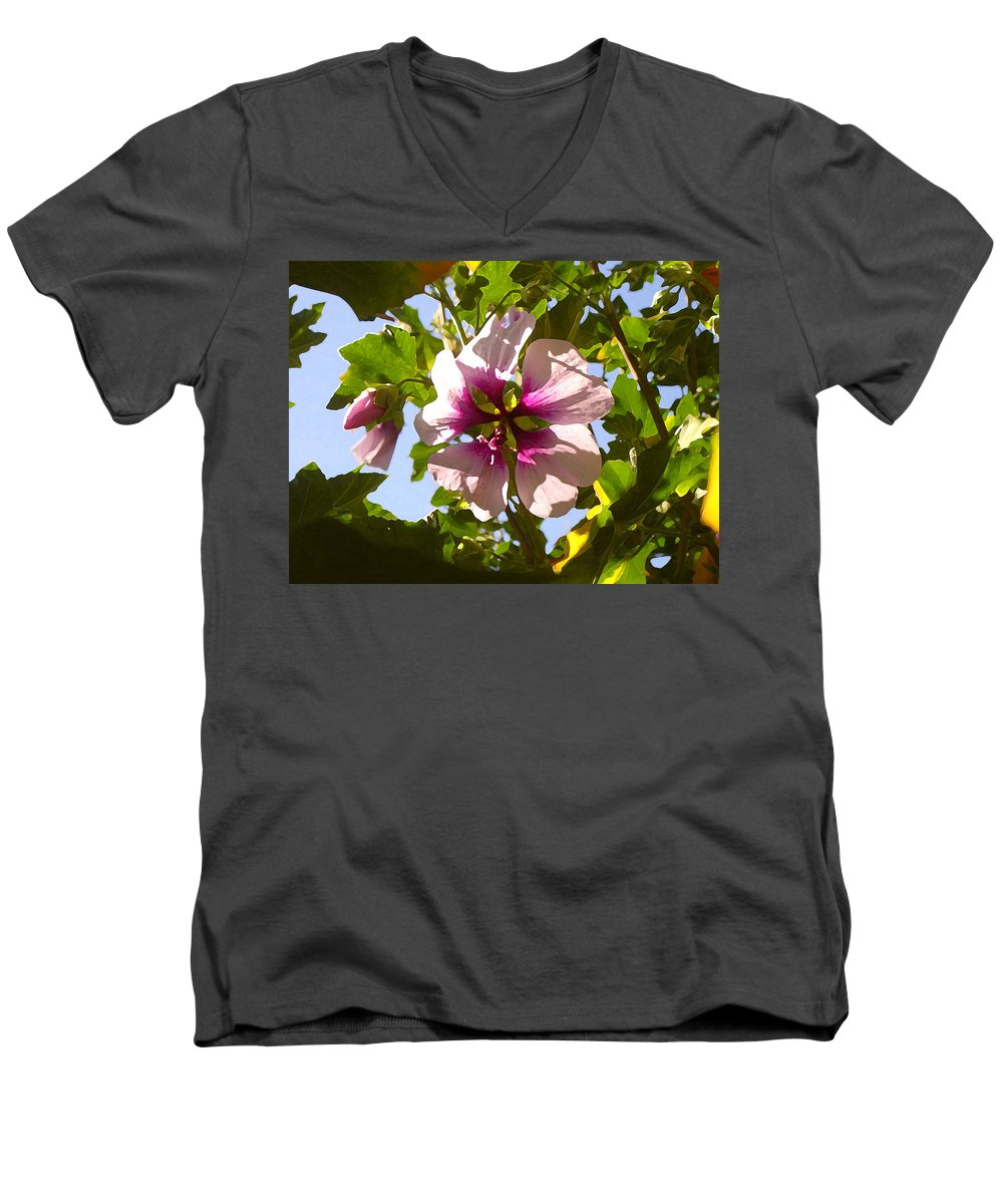 Flower Men's V-Neck T-Shirt featuring the painting Spring Flower Peeking Out by Amy Vangsgard