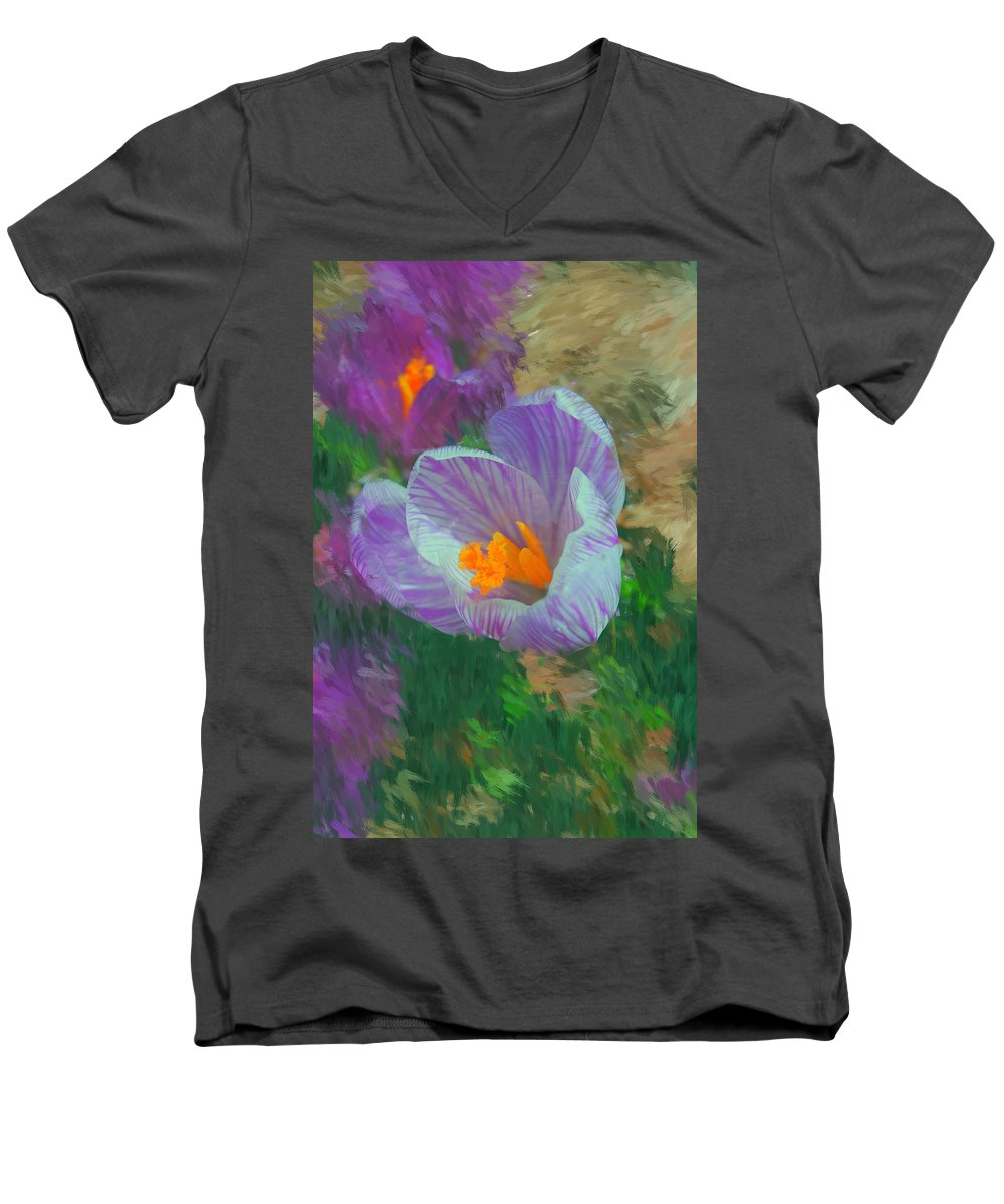 Digital Photography Men's V-Neck T-Shirt featuring the digital art Spring Has Sprung by David Lane