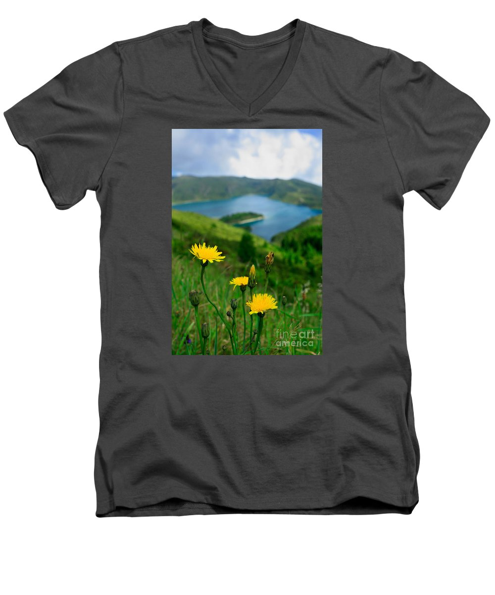 Caldera Men's V-Neck T-Shirt featuring the photograph Springtime In Fogo Crater by Gaspar Avila