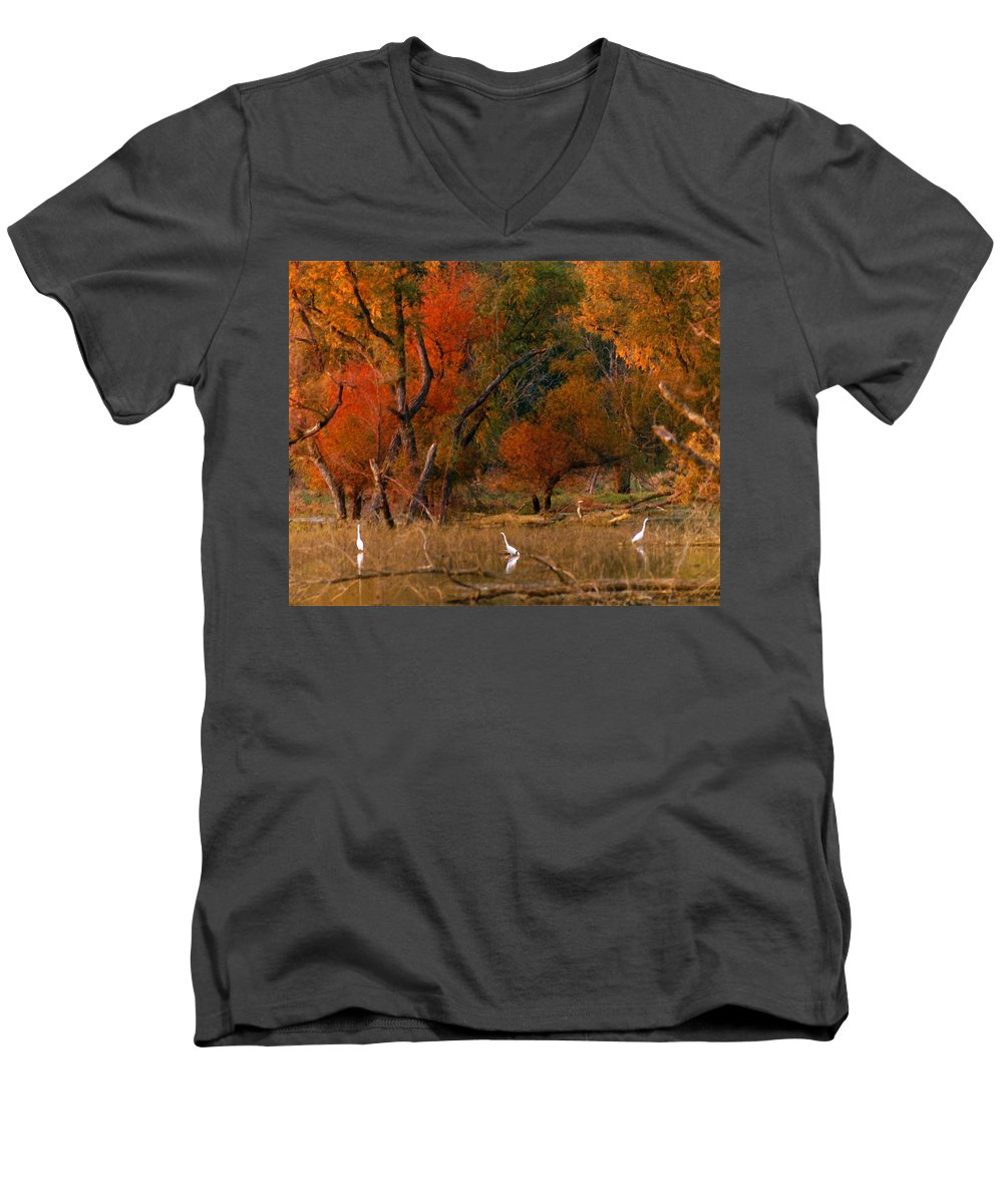 Landscape Men's V-Neck T-Shirt featuring the photograph Squaw Creek Egrets by Steve Karol