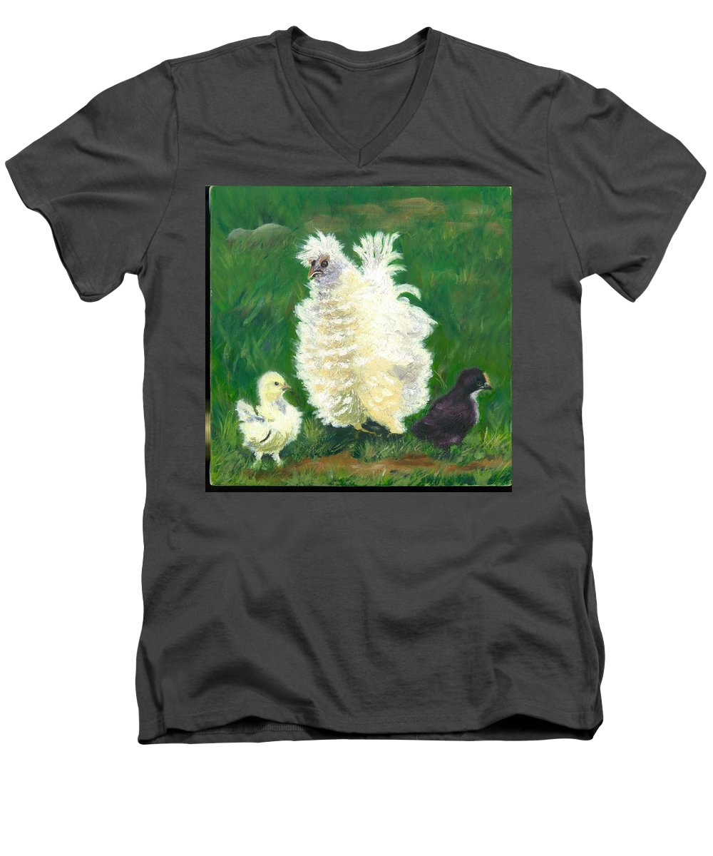 Bantam Frizzle Farmscene Chickens Hen Bird Nature Animals Spring Freerangers Men's V-Neck T-Shirt featuring the painting Squiggle by Paula Emery