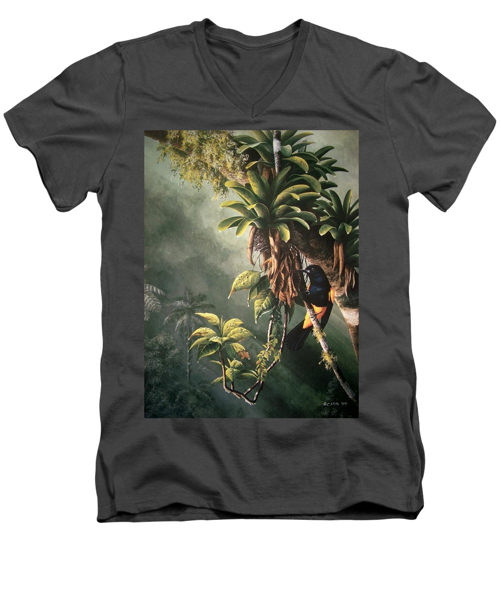 Chris Cox Men's V-Neck T-Shirt featuring the painting St. Lucia Oriole In Bromeliads by Christopher Cox