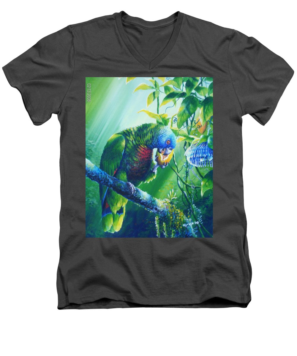 Chris Cox Men's V-Neck T-Shirt featuring the painting St. Lucia Parrot And Wild Passionfruit by Christopher Cox