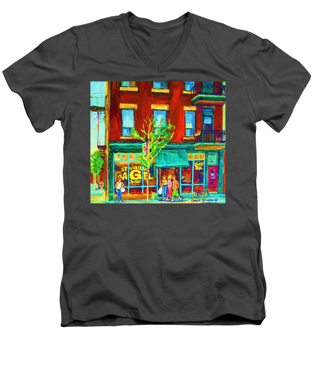 St. Viateur Bagel Shop Men's V-Neck T-Shirt featuring the painting St Viateur Bagel Shop by Carole Spandau