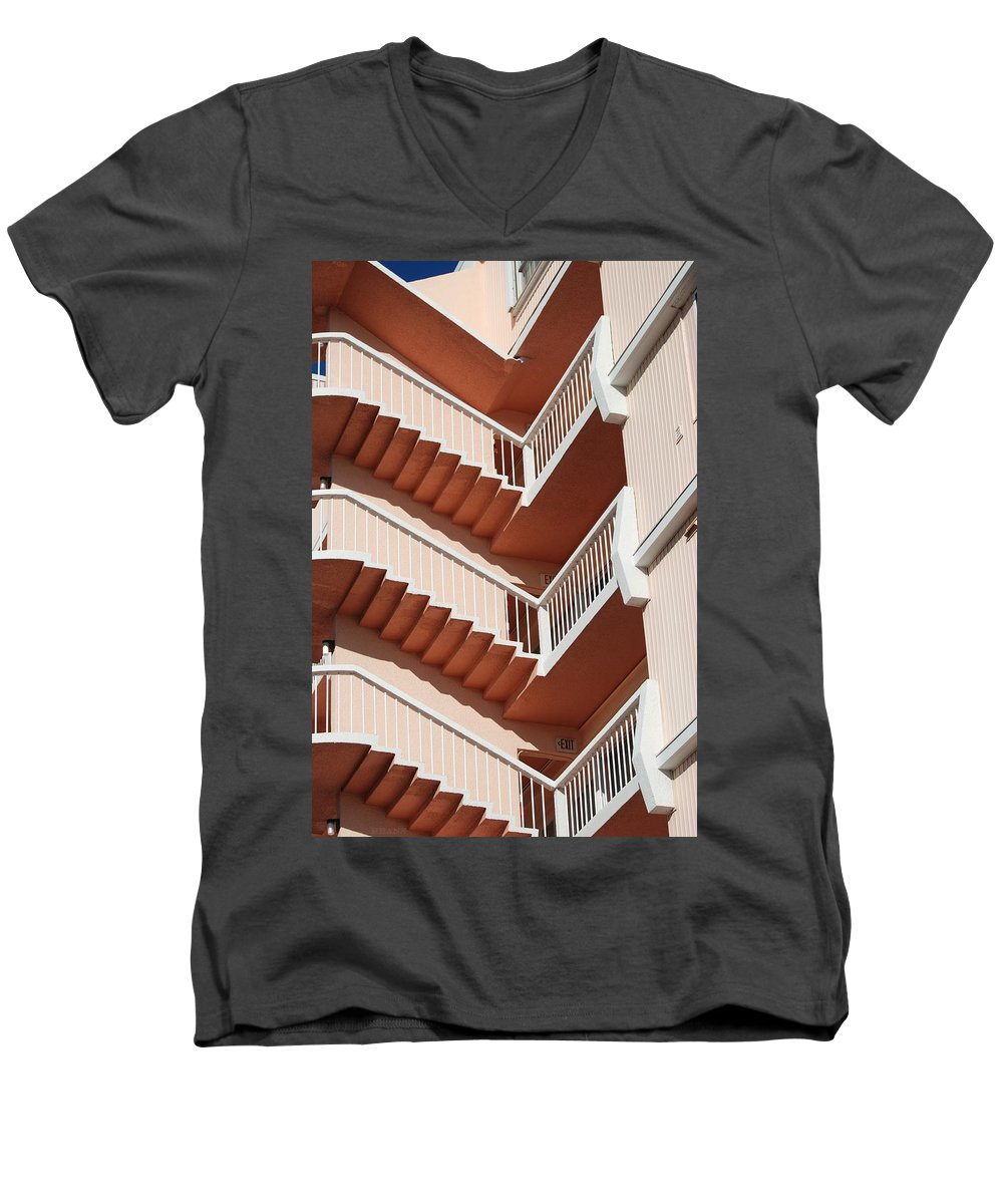 Architecture Men's V-Neck T-Shirt featuring the photograph Stairs And Rails by Rob Hans