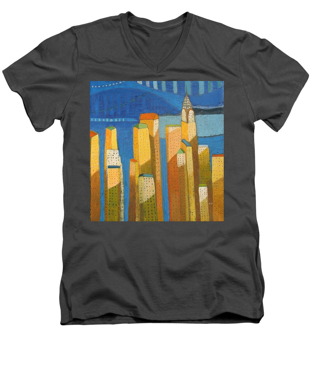 Abstract Cityscape Men's V-Neck T-Shirt featuring the painting Standing High by Habib Ayat