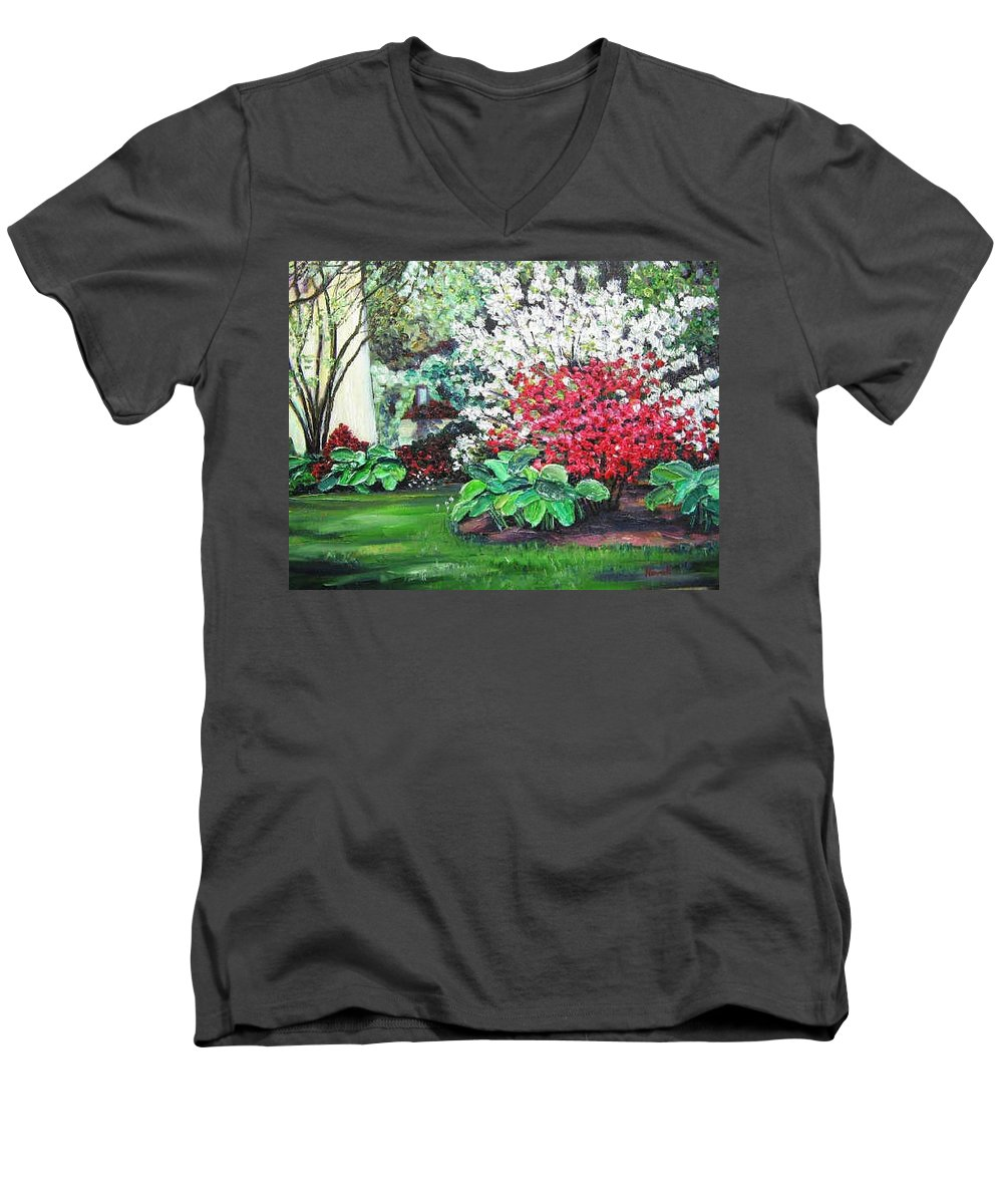 Blossoms Men's V-Neck T-Shirt featuring the painting Stanely Park Blossoms by Richard Nowak