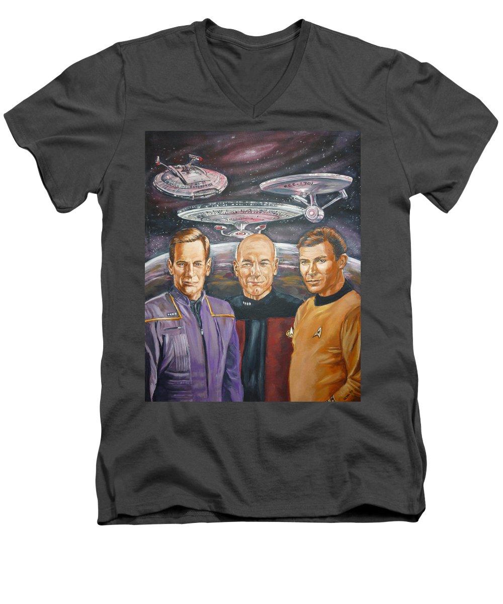 Star Trek Men's V-Neck T-Shirt featuring the painting Star Trek Tribute Enterprise Captains by Bryan Bustard