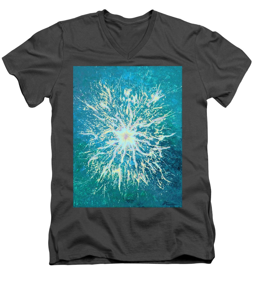 Acrylic Men's V-Neck T-Shirt featuring the painting Static by Todd Hoover