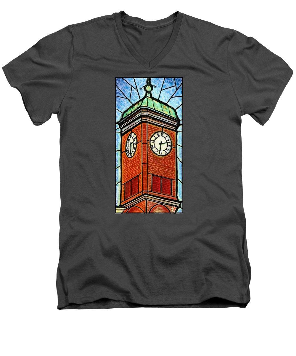 Clocks Men's V-Neck T-Shirt featuring the painting Staunton Clock Tower Landmark by Jim Harris