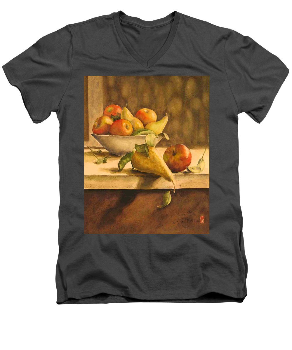 Still-life Men's V-Neck T-Shirt featuring the painting Still-life With Apples And Pears by Piety Choi