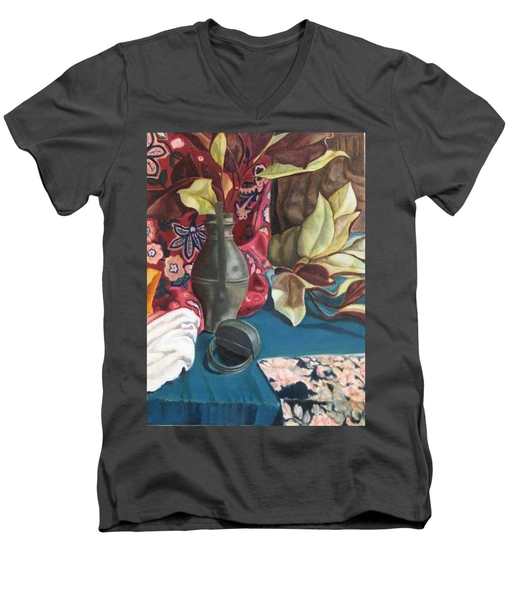Still-life Men's V-Neck T-Shirt featuring the painting Still-life With Magnolia Leaves by Piety Choi