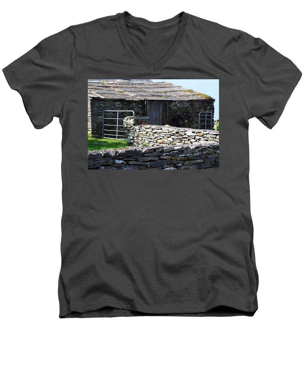 Irish Men's V-Neck T-Shirt featuring the photograph Stone Barn Doolin Ireland by Teresa Mucha