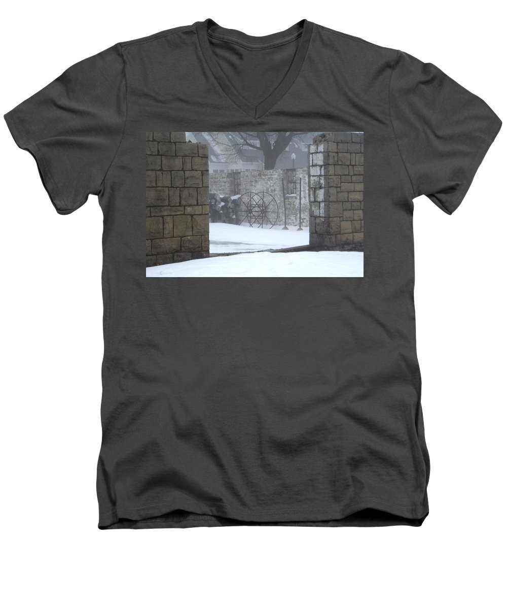 Winter Men's V-Neck T-Shirt featuring the photograph Stone Cellar by Tim Nyberg