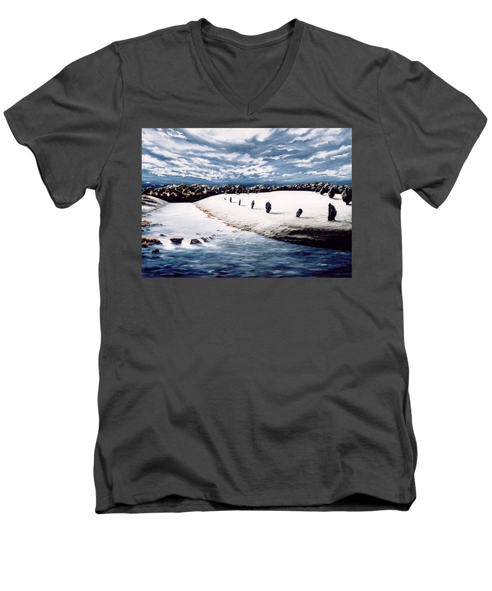 Stoneage Men's V-Neck T-Shirt featuring the painting Stone Delusion by Mark Cawood