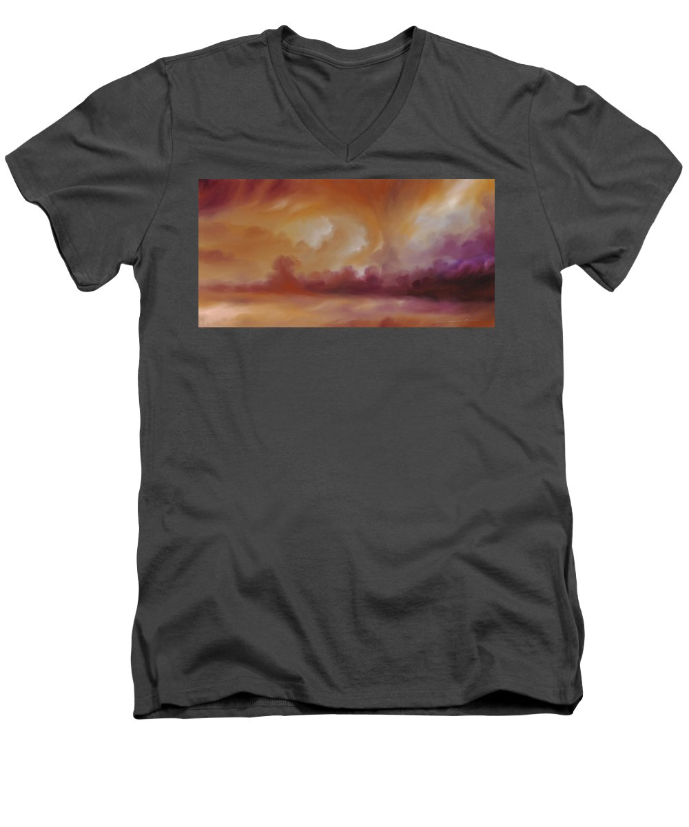 Tempest Men's V-Neck T-Shirt featuring the painting Storm Clouds 2 by James Christopher Hill