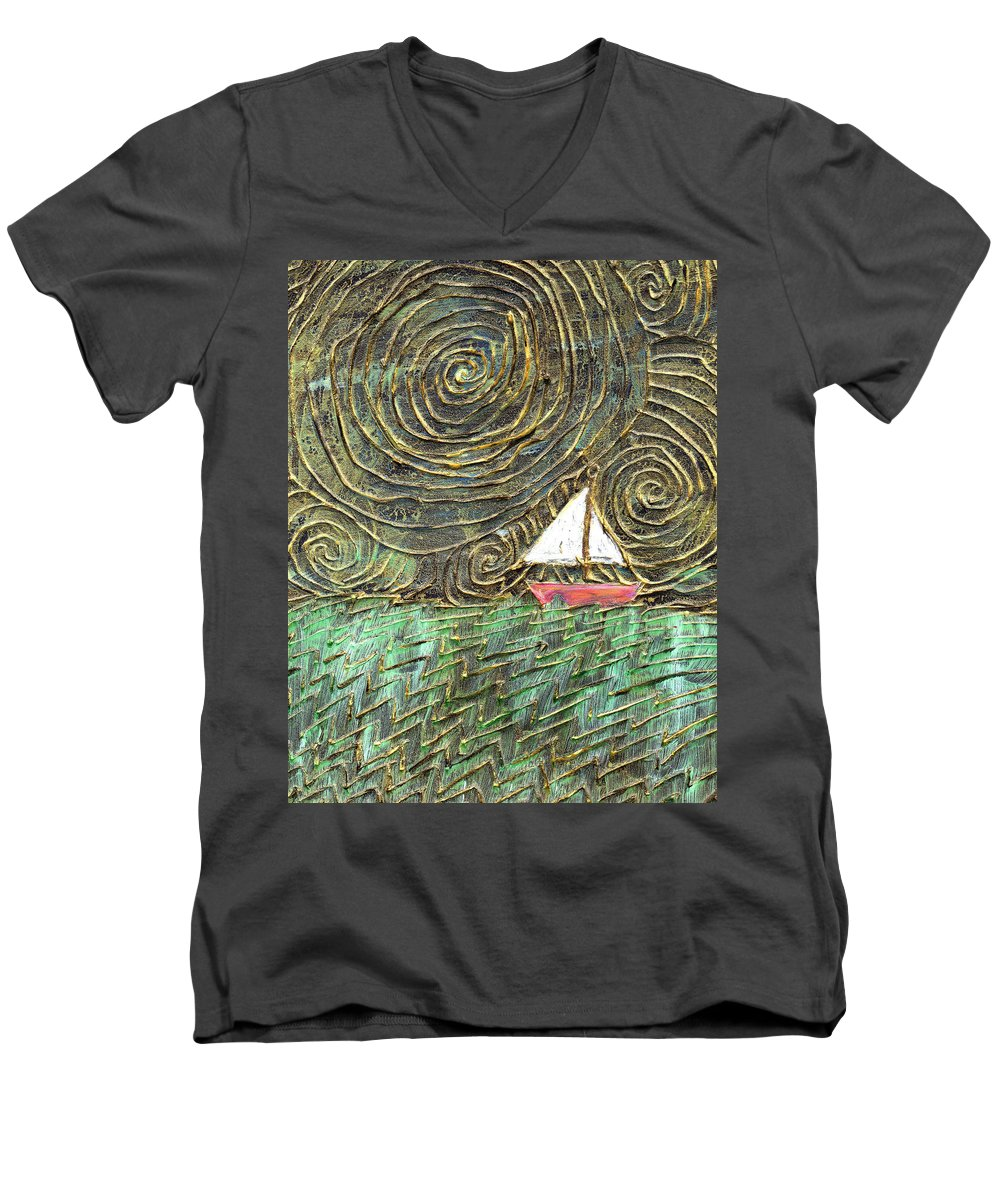 Storm Men's V-Neck T-Shirt featuring the painting Stormy Night by Wayne Potrafka