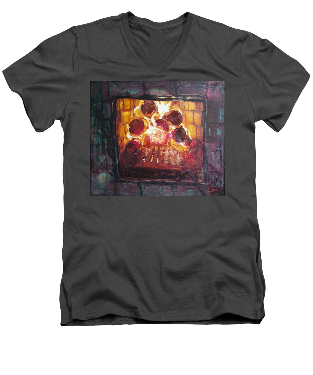 Oil Men's V-Neck T-Shirt featuring the painting Stove by Sergey Ignatenko