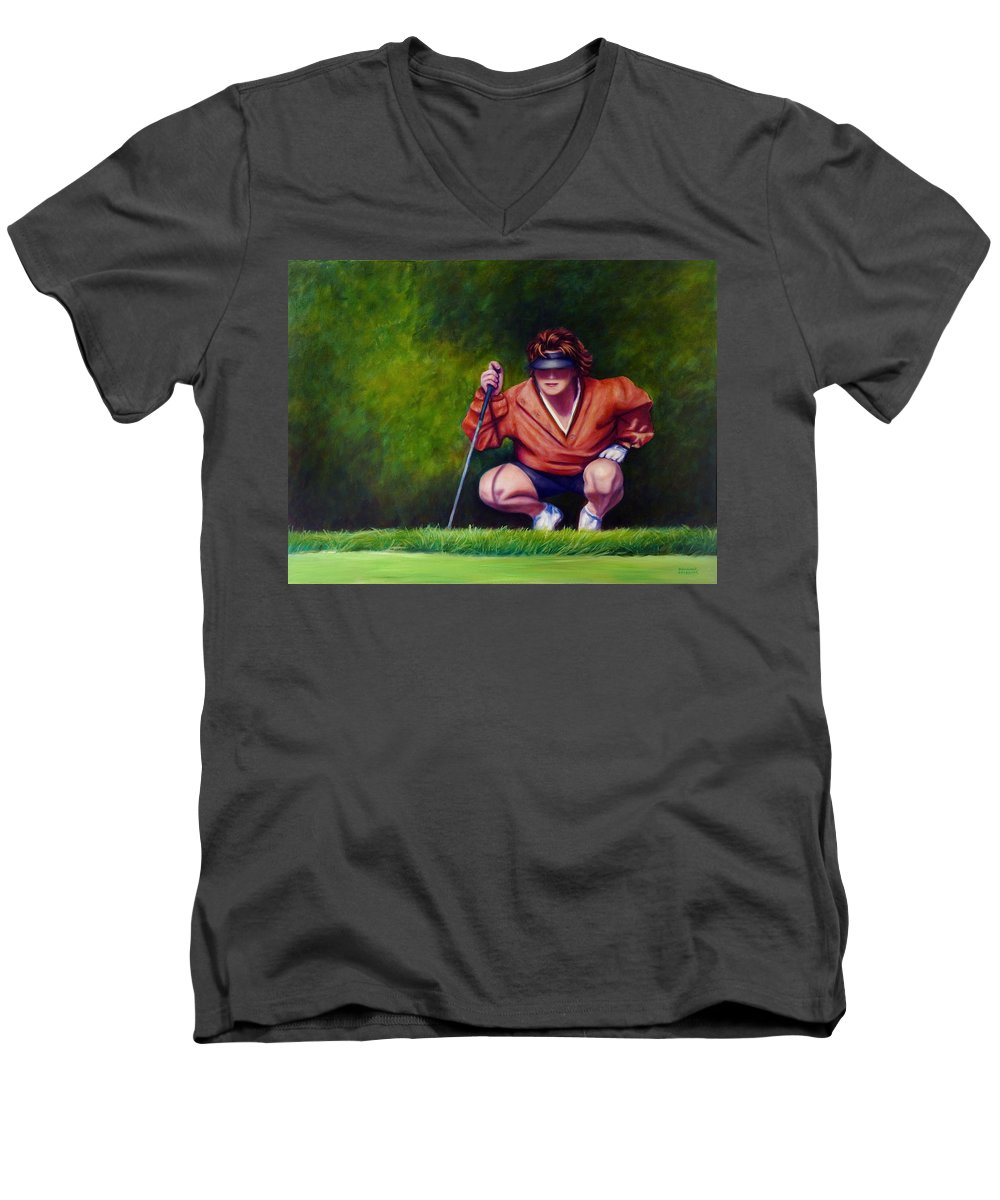 Golfer Men's V-Neck T-Shirt featuring the painting Straightshot by Shannon Grissom