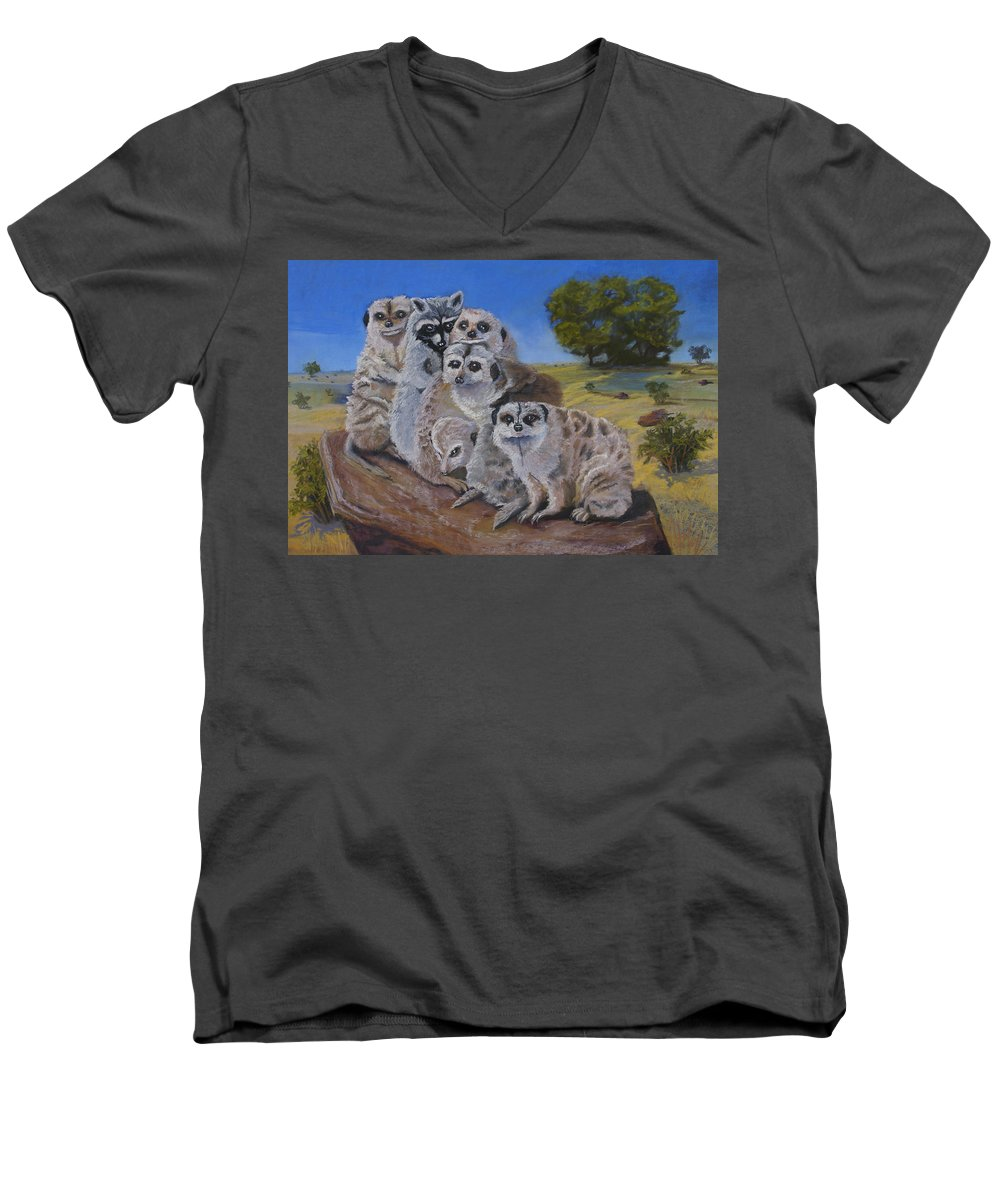 Meer Cat Men's V-Neck T-Shirt featuring the painting Stranger In A Strange Land by Heather Coen