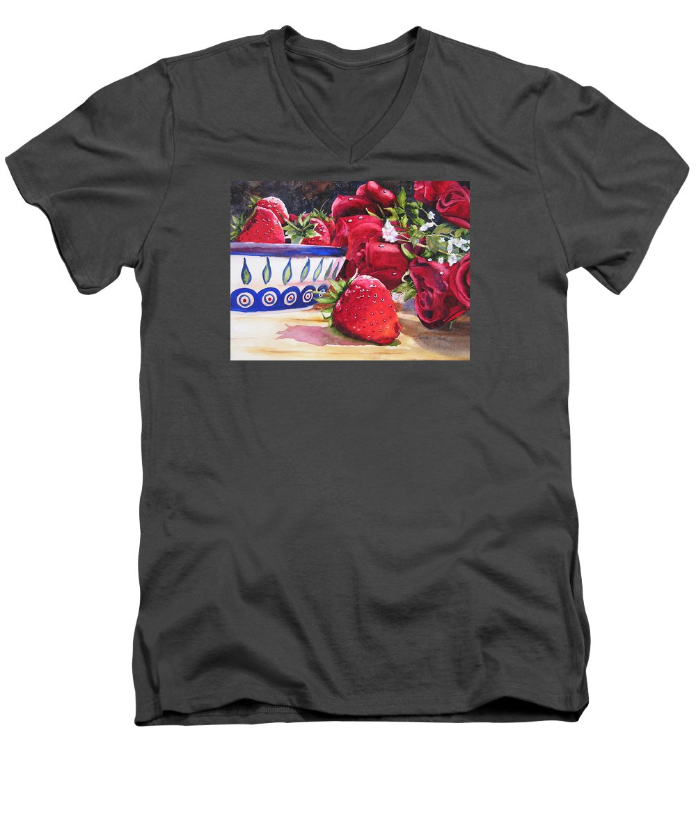 Strawberries Men's V-Neck T-Shirt featuring the painting Strawberries And Roses by Karen Stark