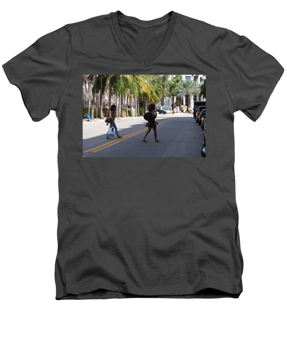 Girls Men's V-Neck T-Shirt featuring the photograph Street Walkers by Rob Hans