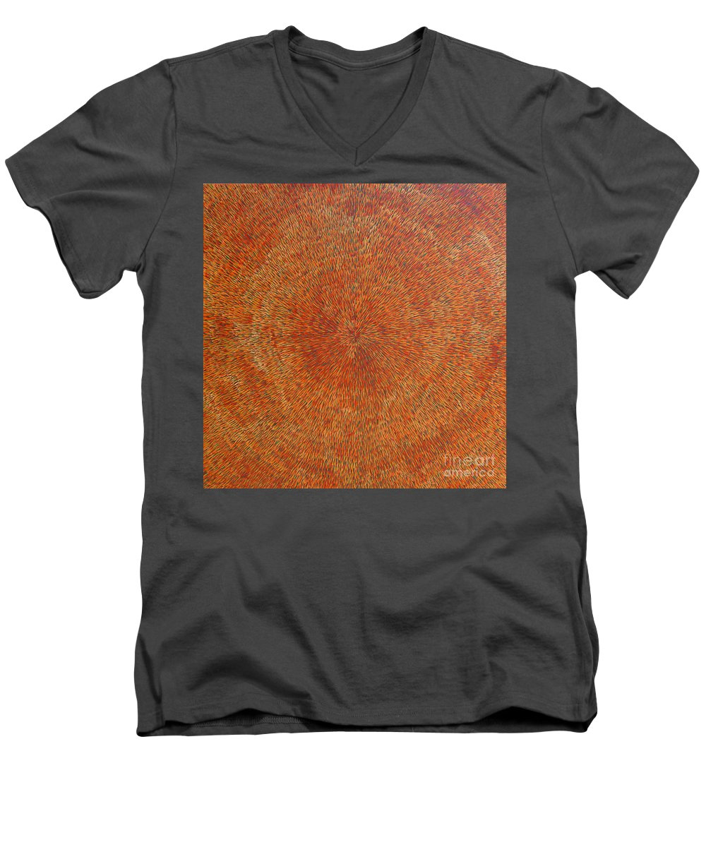 Abstract Men's V-Neck T-Shirt featuring the painting Su Gaia Earth by Dean Triolo