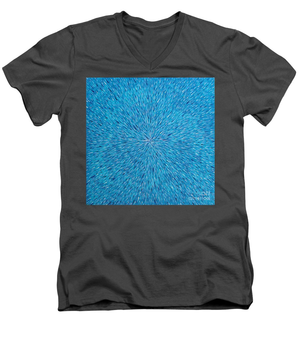 Abstract Men's V-Neck T-Shirt featuring the painting Su Gaia Rain by Dean Triolo
