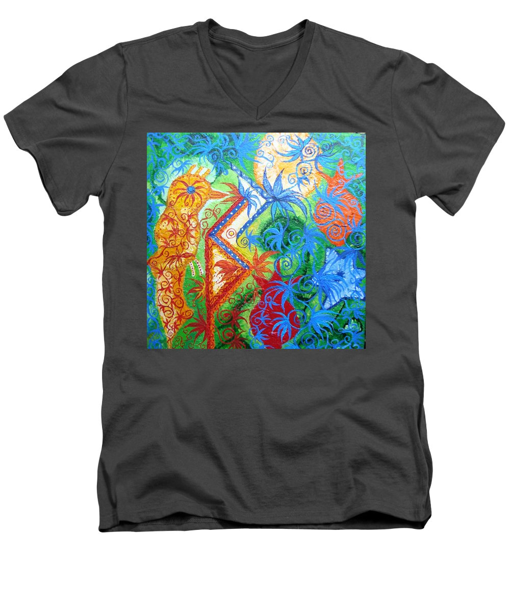 Runes Men's V-Neck T-Shirt featuring the painting Success From Project by Joanna Pilatowicz