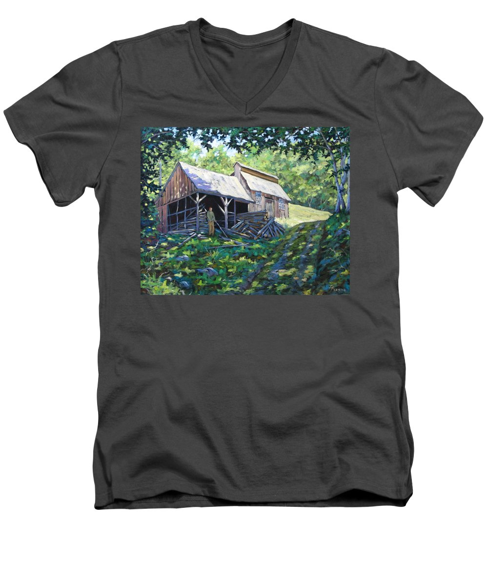 Sugar Shack Men's V-Neck T-Shirt featuring the painting Sugar Shack In July by Richard T Pranke