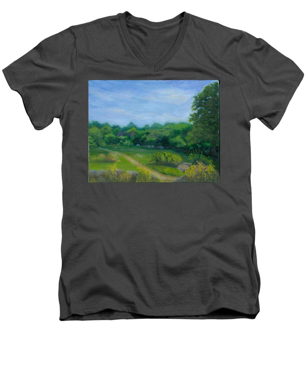 Landscape Men's V-Neck T-Shirt featuring the painting Summer Afternoon At Ashlawn Farm by Paula Emery