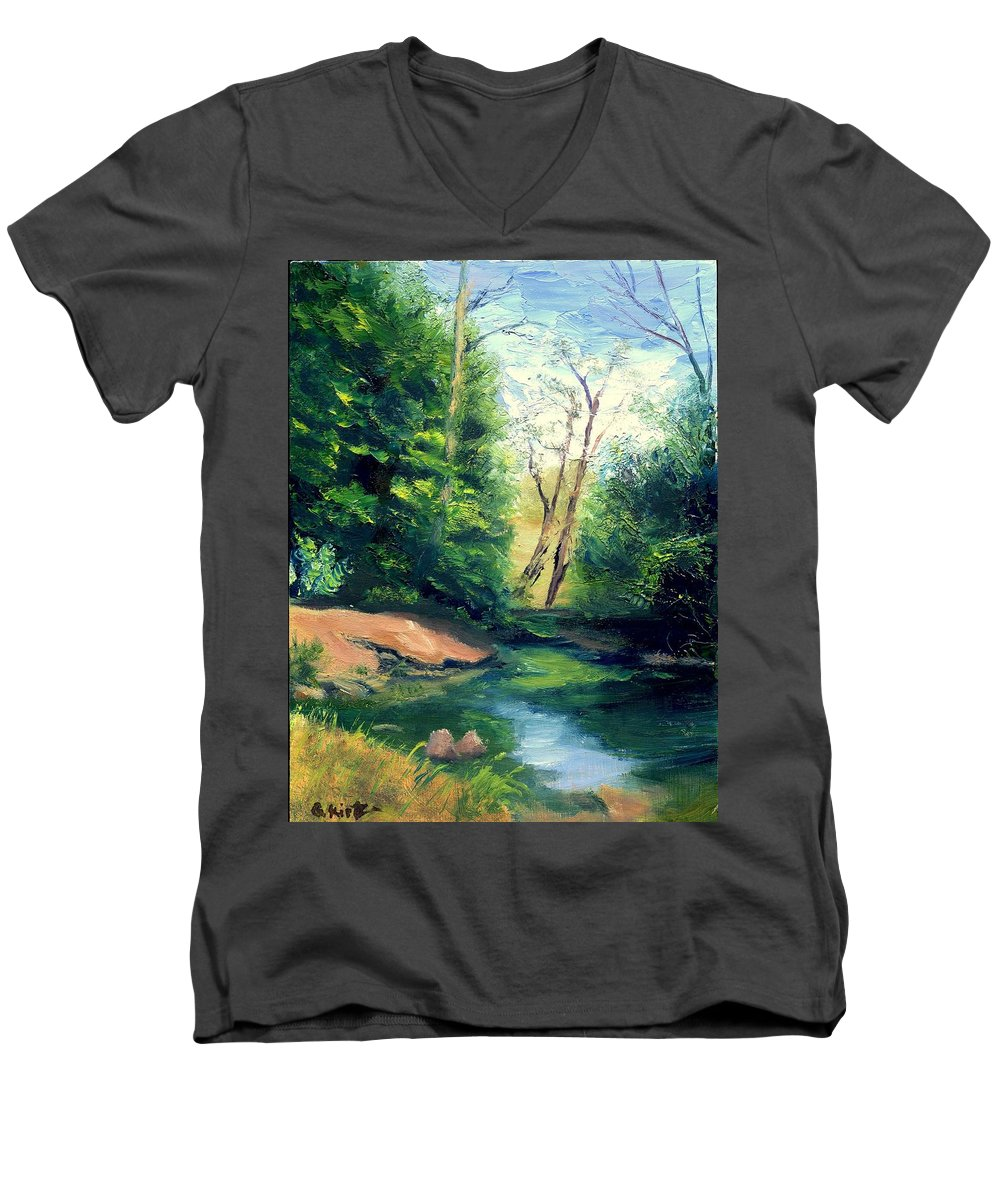 Landscape Men's V-Neck T-Shirt featuring the painting Summer At Storm by Gail Kirtz