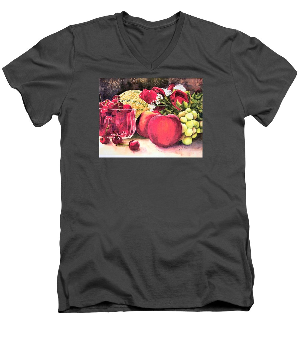 Cherries Men's V-Neck T-Shirt featuring the painting Summer Bounty by Karen Stark