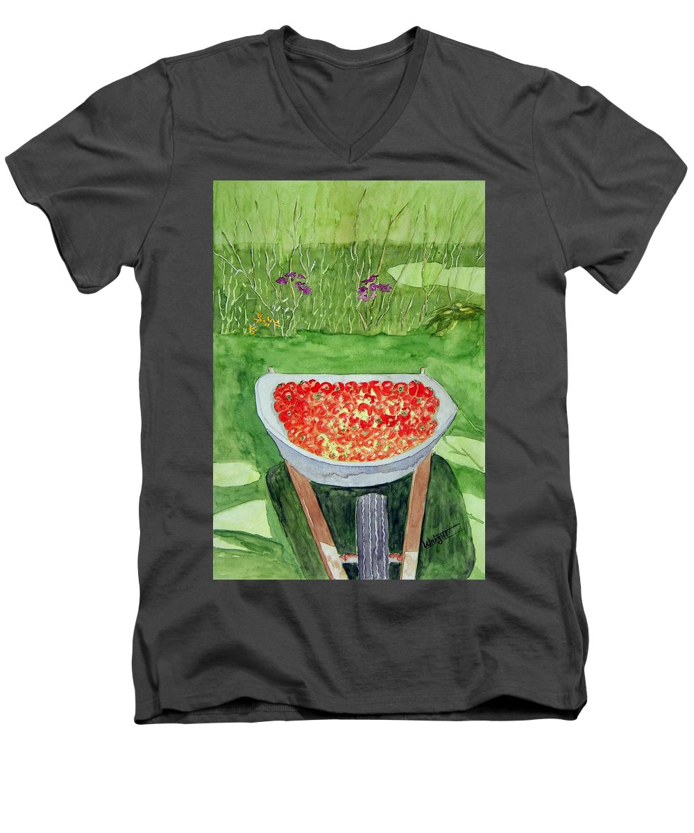 Rural Paintings Men's V-Neck T-Shirt featuring the painting Summer Bounty by Larry Wright