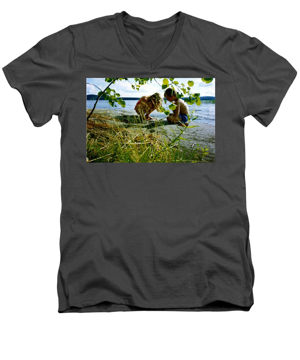 Kids Men's V-Neck T-Shirt featuring the photograph Summer Fun In Finland by Merja Waters