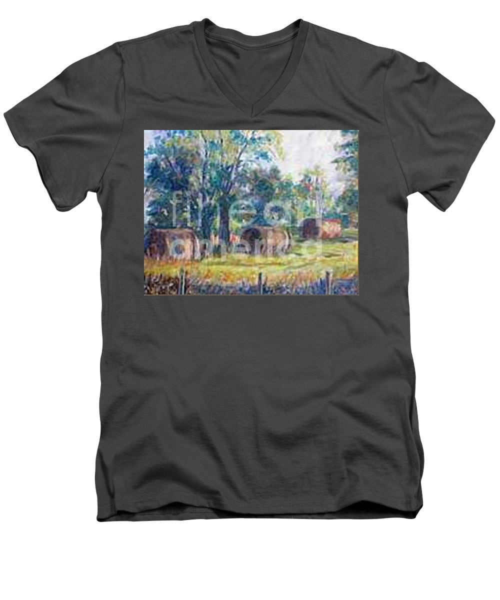 Landscape Men's V-Neck T-Shirt featuring the painting Summer Idyll by Jan Bennicoff