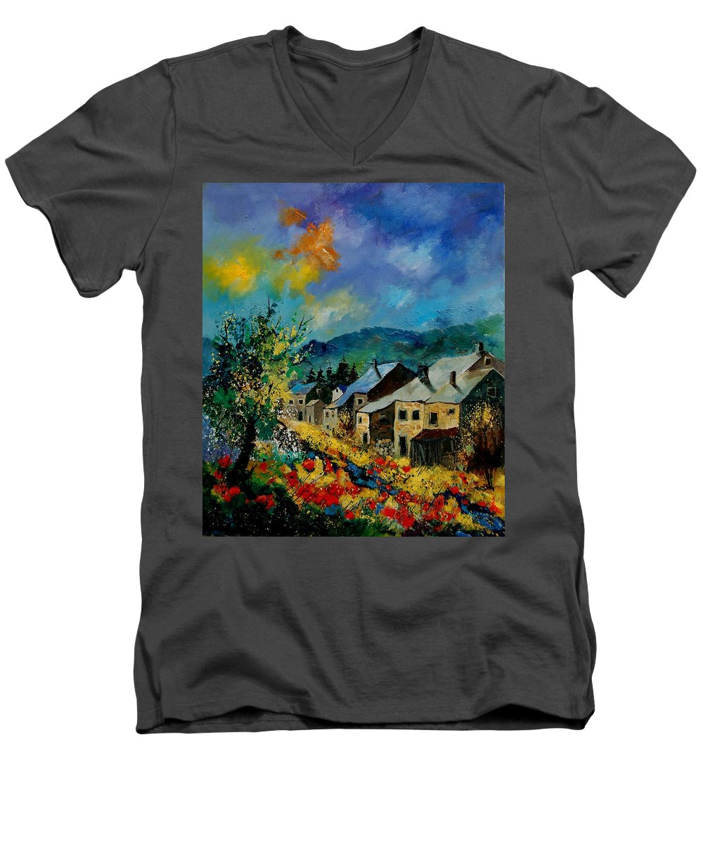 Poppies Men's V-Neck T-Shirt featuring the painting Summer In Mogimont by Pol Ledent